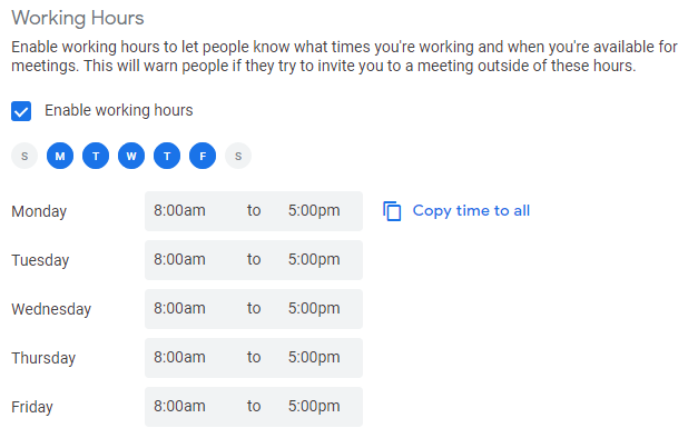 Google Calendar Working Hours