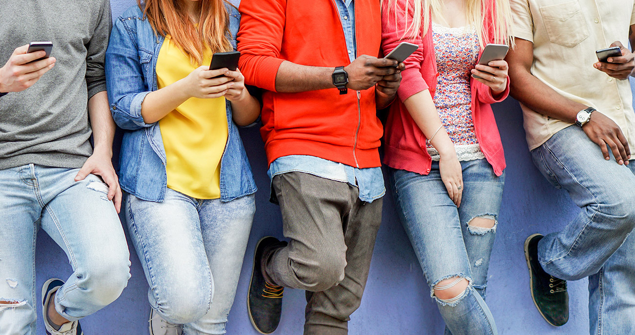 Students using cell phones