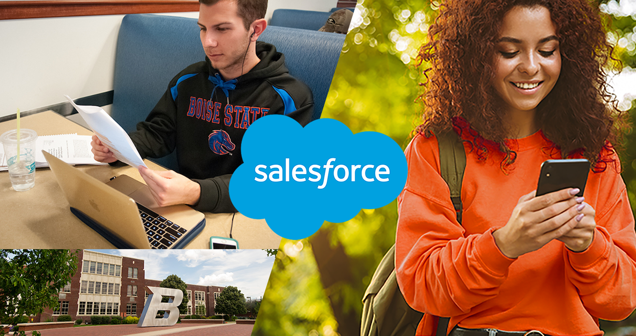 Salesforce logo with students at Boise State University