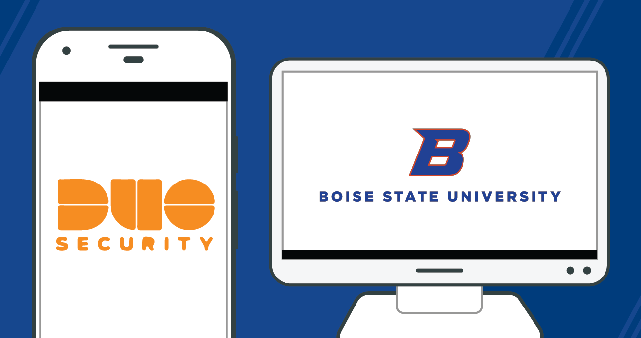 Duo security logo on mobile phone and Boise State logo on computer desktop