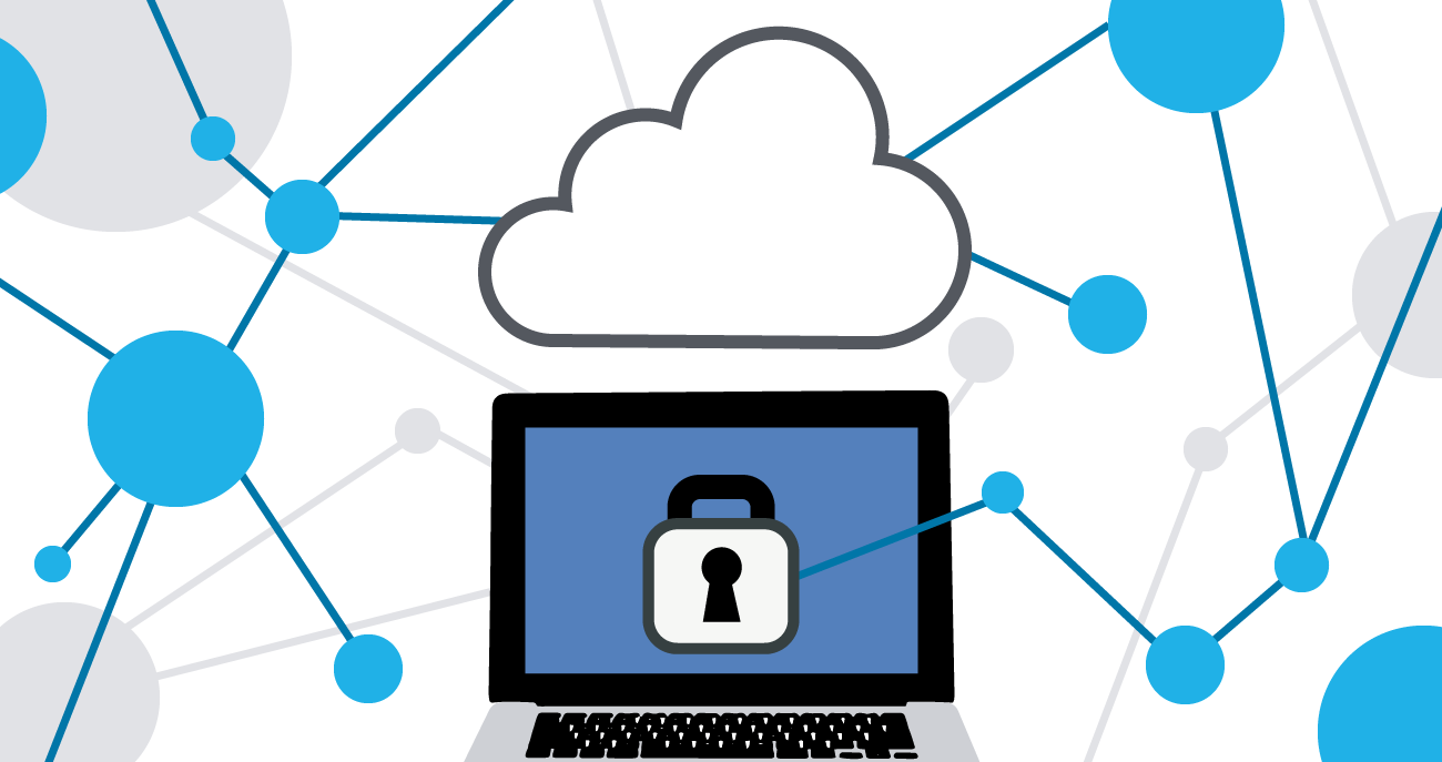 Illustration of computer with padlock security in the cloud