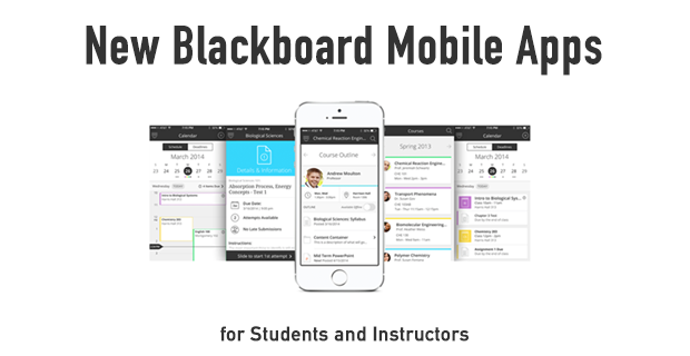 New blackboard apps for students and faculty with screenshots of Blackboard app