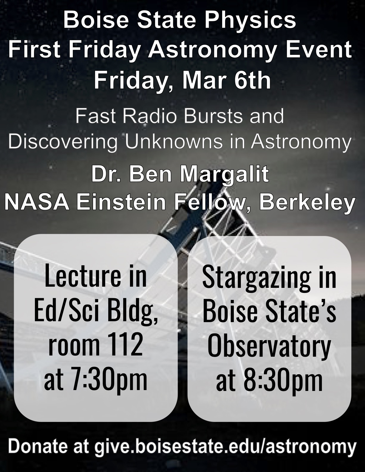 Dr. Ben Margalit Fast Radio Bursts and Discovering Unknowns in Astronomy Flyer
