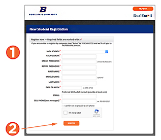 screenshot of new student registration page