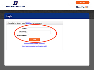 Screenshot of dual enrollment login page
