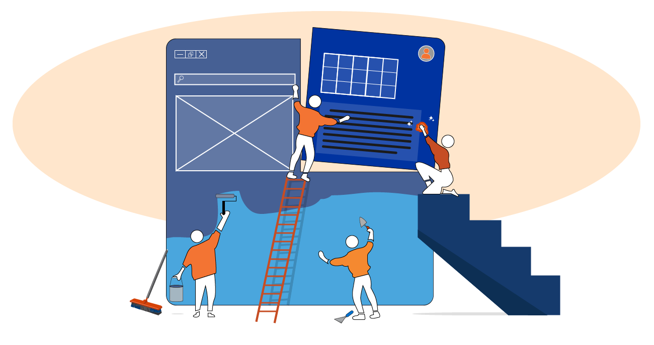 """Stylized graphic showing people constructing a new """"process"""" from pieces of a web application"""