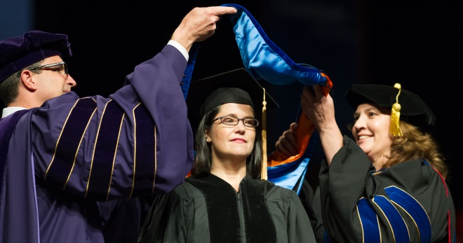 Dr. Cheri Lamb being hooded
