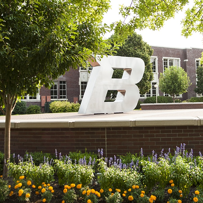 B statue on Boise State campus