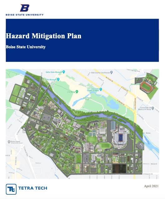 Picture of the cover for the Boise State 2021 Hazard Mitigation Plan