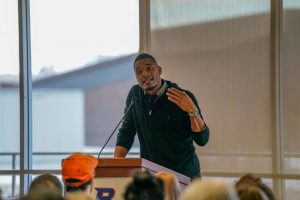 Terrance Hayes reading on Boise State's campus in April 2019.
