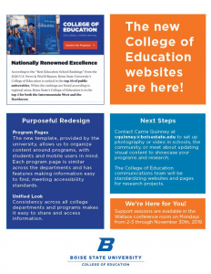 College of Education Website Information Sessions