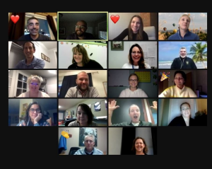Screen shot photo of 18 participants of online meeting