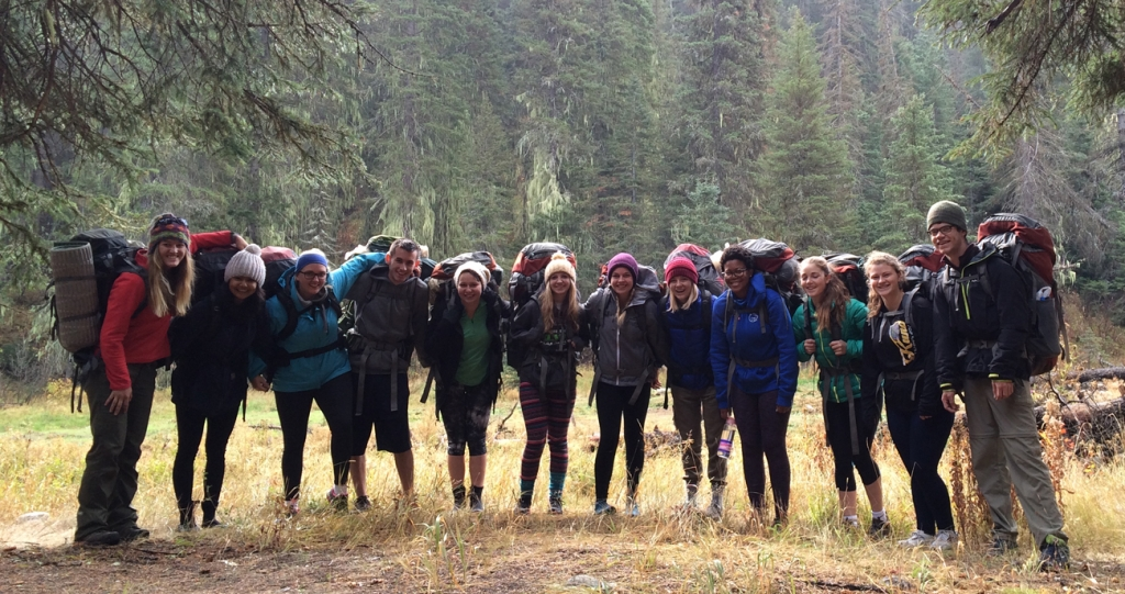 Students on backpacking trip