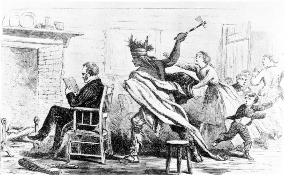 Man wields hatchet and rushes towards another man sitting in a chair, illustration