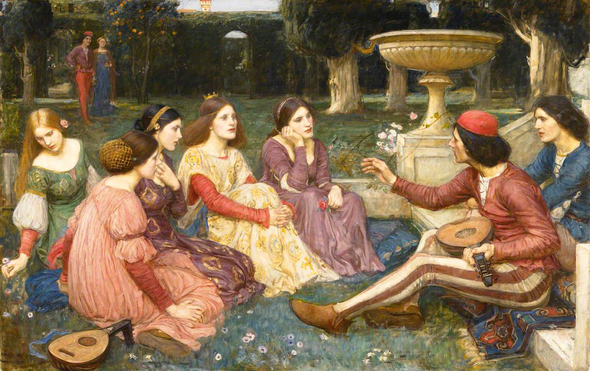 women sitting in garden listening to a story, painting