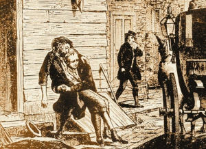 man being carried to a wagon, drawing