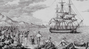 Ship leaving harbor, people waving on the shore