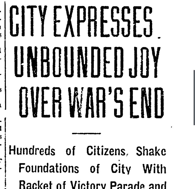 City Expresses Unbound Joy over War's End, Hundreds of citizens shake foundations of city with racket of victory parade, news clipping
