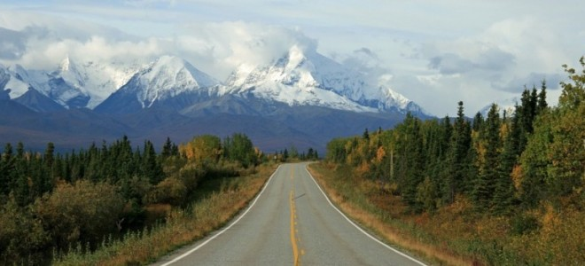 Alaskan road with mountains in back