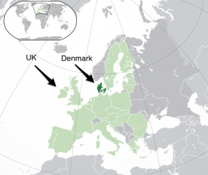 map of Europe highlighting the UK and Denmark