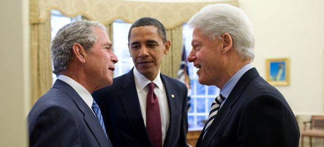 Presidents Bush, Obama and Clinton