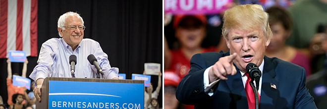 Photos of Bernie Sanders and Donald Trump