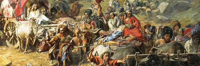 Historical painting of refugees leaving mountains