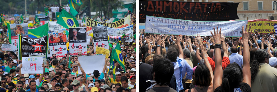 photos of protests in Brazil and Greece