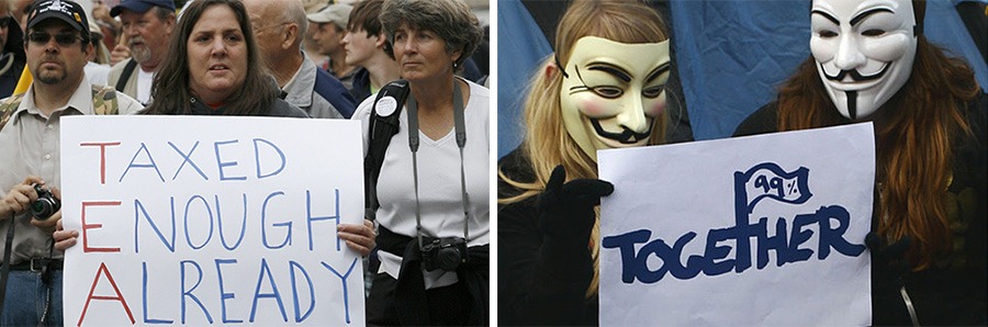 photos of Tea party and Occupy Wall Street protests