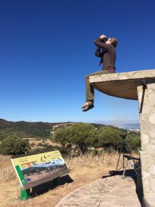 Erin Arnold at one of the count sites (called Algarrobo) in Spain -- sitting on top of the observatory.