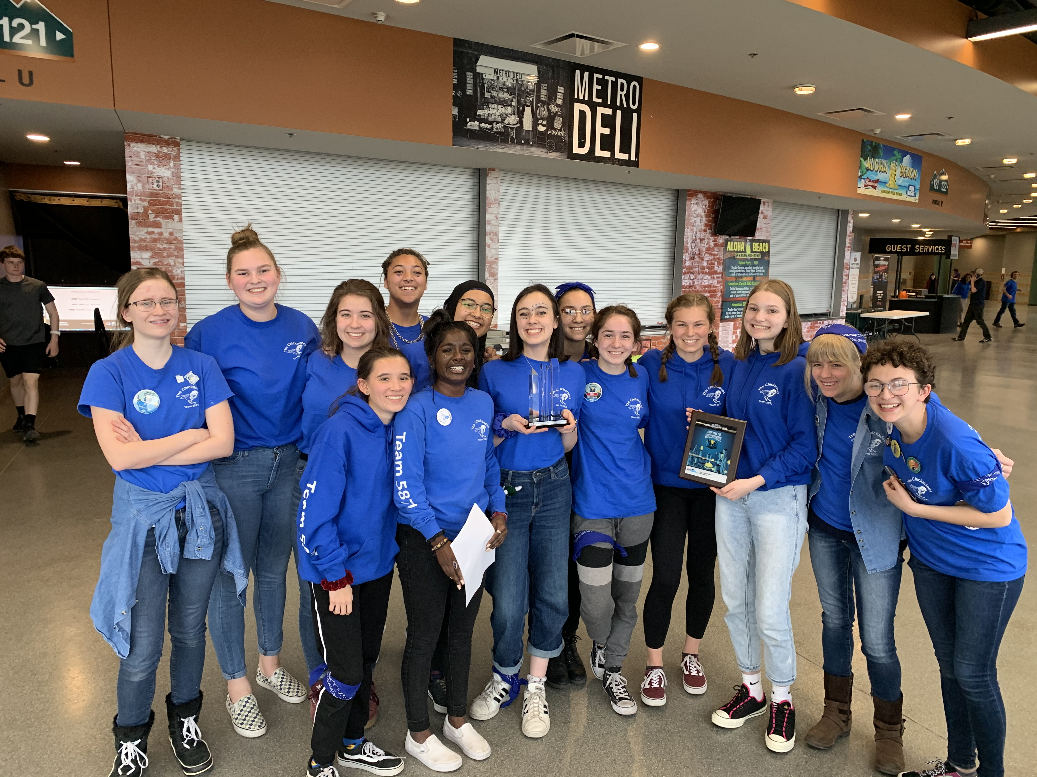Members of the Chickadees FIRST Robotics team after winning the Judges Award at the 2020 Utah FRC Regional