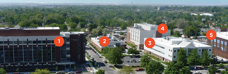 Core facilities. This image includes five numbered buildings.