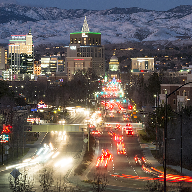 View of downtown Boise skyline at night, photograph
