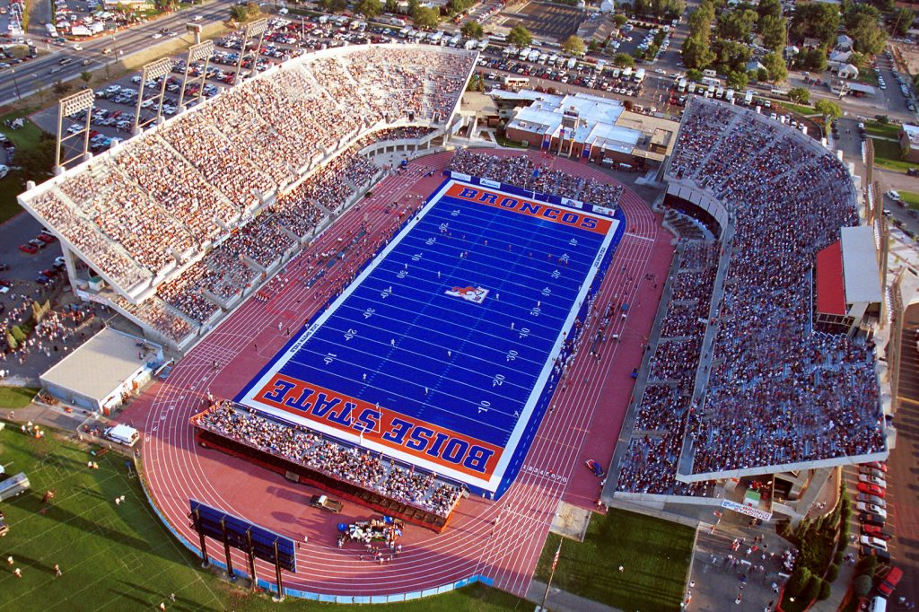 Aerial view of Second blue turf
