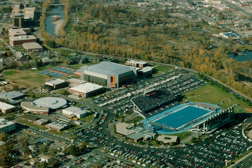 Aerial view of first blue turf