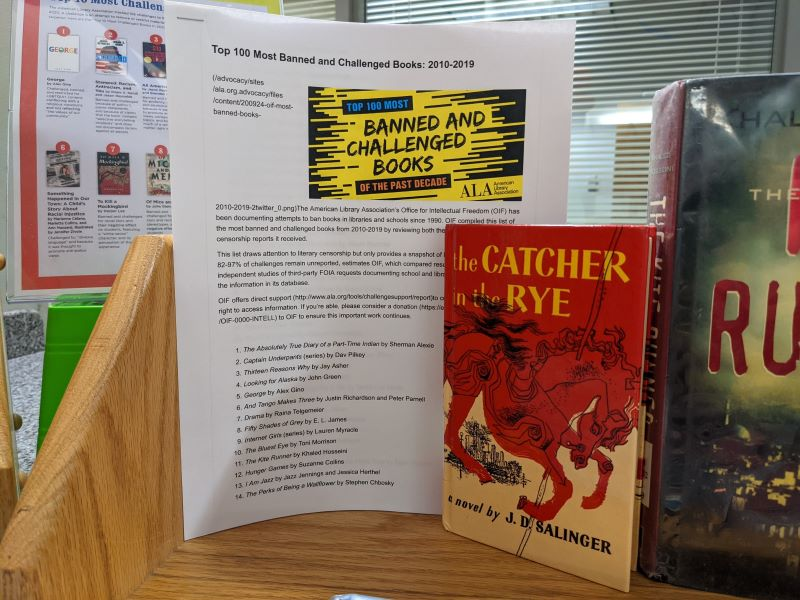 Color photo of handout with a print copy of the book The Catcher and the Rye by J.D. Salinger