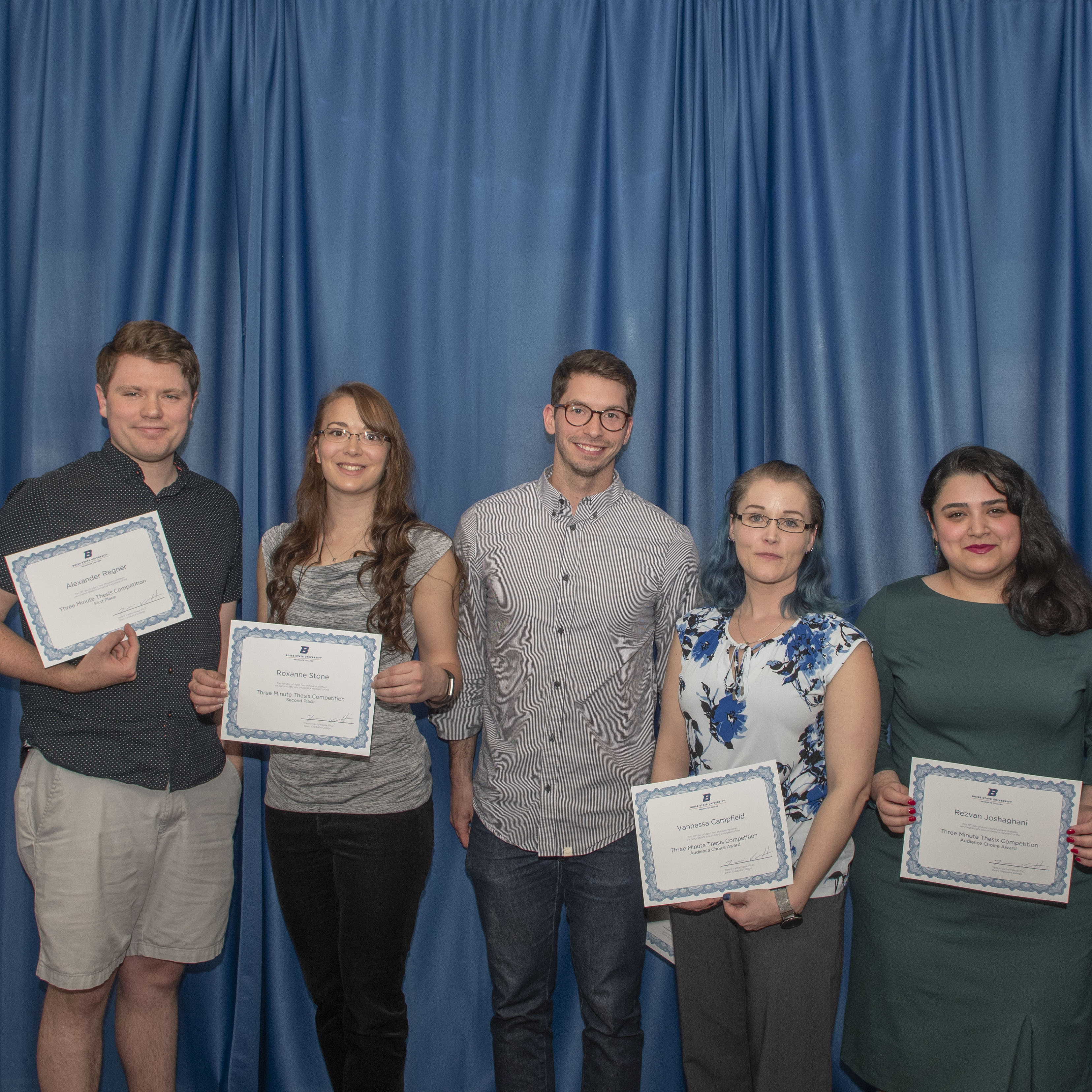 Graduate College Awards Ceremony, five three minute thesis award winners pictured