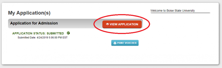 Application for Admission Dashboard