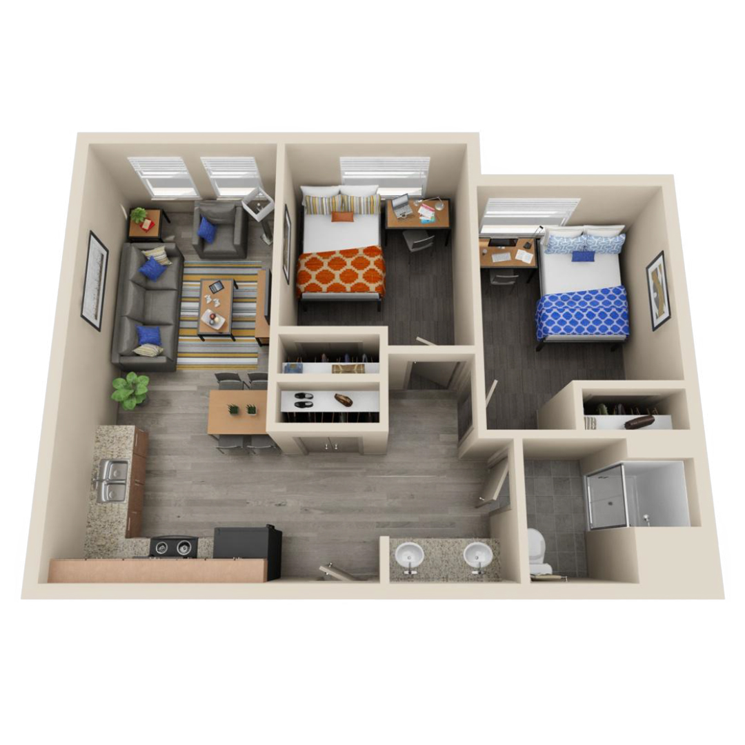 2 bed floor plan with kirchen