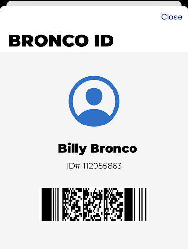 Example student ID showing clearance to be on campus
