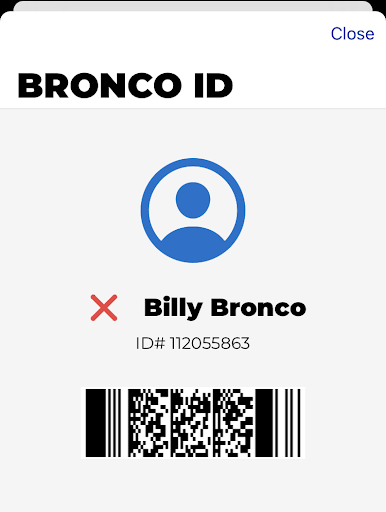 Example student ID showing uncleared to be on campus