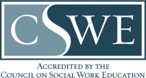 "CSWE Logo ""Accredited by the Council on Social Work Education"""