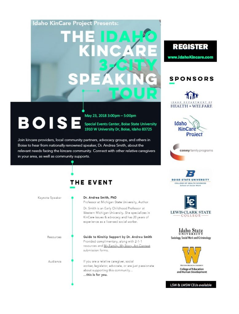 Registration details for KinCare 3-City Speaking Tour can be found at IdahoKincare.com