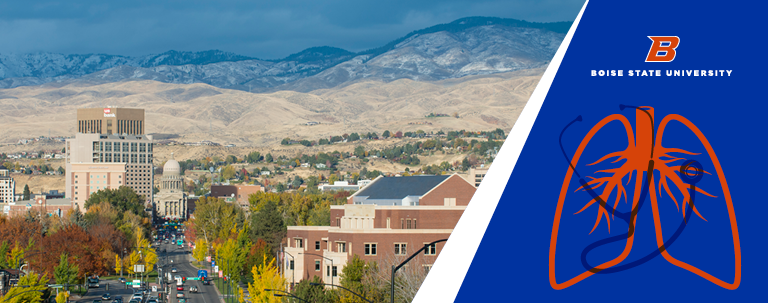 collage: Boise downtown and foothills, lung and stethoscope icon, Boise State University logo